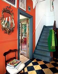 note the orange paint colour stop in the hallway foyer artist s home colorful victorian