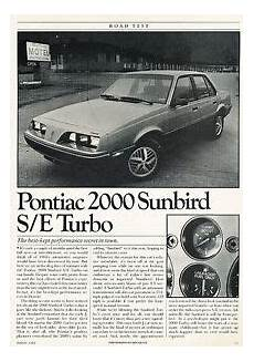 car owners manuals free downloads 1983 pontiac sunbird electronic toll collection 1984 pontiac 2000 sunbird s e turbo road test classic article d61 ebay