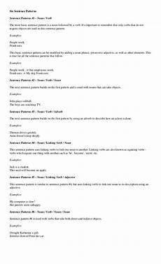 basic sentence pattern worksheets for grade 4 529 sentence pattern