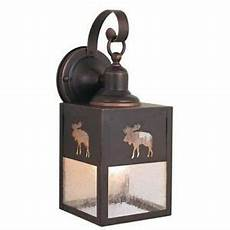 new 1 light rustic moose outdoor wall l lighting fixture clear seeded glass ebay