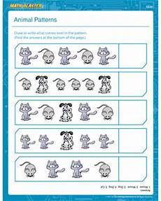 animal pattern worksheets 14350 animals patterns printable 1st grade math worksheet math blaster