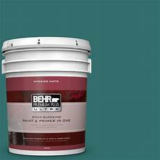 behr premium plus ultra 5 gal 500d 7 caribbean green matte interior paint and primer in one