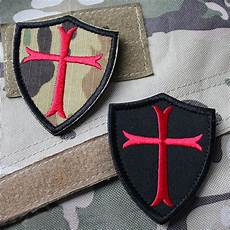 2 pcs knights templar cross shield military army embroidered morale patch ebay