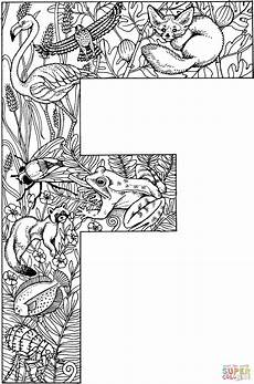 letter f with animals coloring page free printable