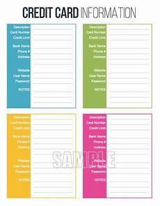 printable password card credit card information printable editable personal