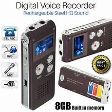 Rechargeable Digital Sound Recorder 8gb Steel Voice