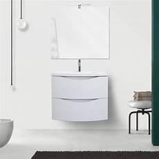 specchio con cassetti mobile da bagno sospeso 60 cm bianco opaco con lavabo in