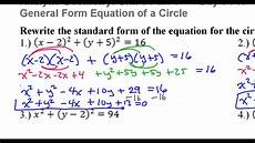 circle standard form day 3 hw 1 to 4 rewrite the standard form of the circle