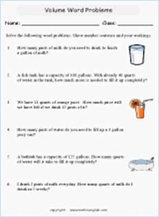 volume word problems printable grade 2 math worksheet