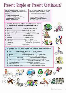 present simple or continuous worksheet free esl