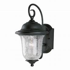 westinghouse 1 light vintage bronze steel exterior wall lantern with clear crackle glass 6484100