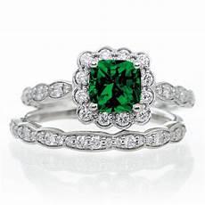 2 carat princess cut emerald and diamond wedding ring 10k white gold jeenjewels