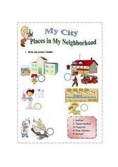 english worksheet my city places in my neighborhood 2