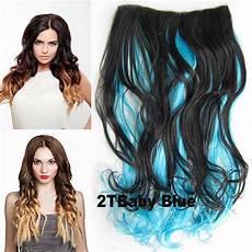 nehty modre ombre clip in vlasy p 225 s lokne ombre odtie蛻 2 t baby blue
