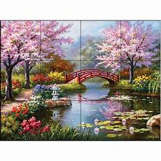 Japanese Kitchen Garden by The Tile Mural Store Japanese Garden 17 In X 12 3 4 In