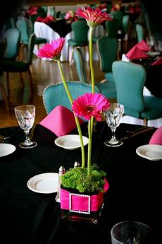 hot pink black wedding gerbera daisies pink black