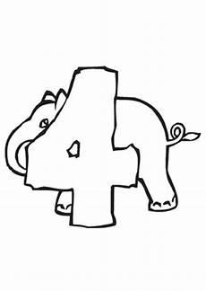 ausmalbild zahl vier mit elefant kostenlos ausdrucken