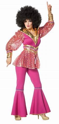 90er Damen - disco kost 252 m damen 70er jahre disco fever pink gold
