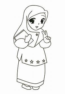 Gambar Kartun Wanita Muslimah Hitam Putih Galeri Kartun