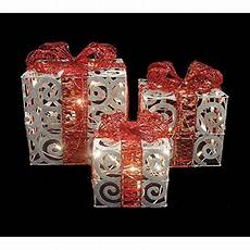Lighted Decorations by Set Of 3 Sparkling White Swirl Gift Boxes Lighted
