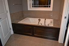bathroom tub surround tile ideas pics of tubs with wood surround we also got our peek at the tub surround in place