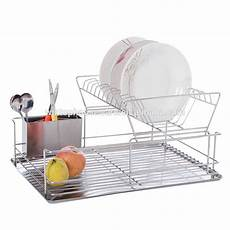 easy to clean stainless steel 2 tier kitchen dish rack