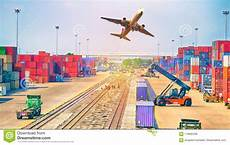 business logistics concept plane truck and train for