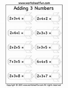 1st grade math worksheet adding 3 numbers free three addend worksheets adding 3 numbers rockets