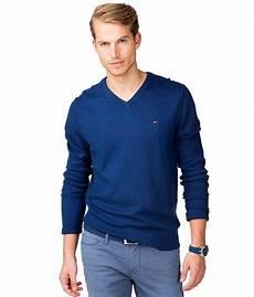 new hilfiger mens pacific v neck sweater blue