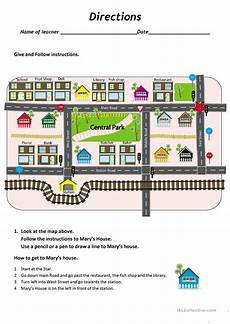 give and follow directions a map worksheet free esl printable worksheets made by teachers