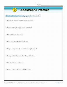 apostrophe practice punctuation worksheets