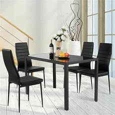 Furniture Kitchen Set 5 Kitchen Dining Set Glass Metal Table And 4 Chairs