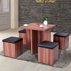 Dining Table With Stools by Giantex 5 Pieces Wood Dining Table And 4 Stools Set Modern