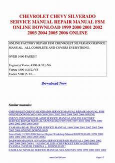 how to download repair manuals 2001 chevrolet silverado 3500 free book repair manuals chevrolet chevy silverado service manual repair manual fsm 1999 2000 2001 2002 2003 2004 2005 by