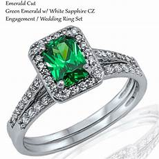 emerald cut green emerald cz engagement sterling silver two ring size 3 12 ebay