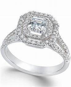 macy s diamond halo engagement ring in 18k white gold 1 ct t w in silver white gold lyst