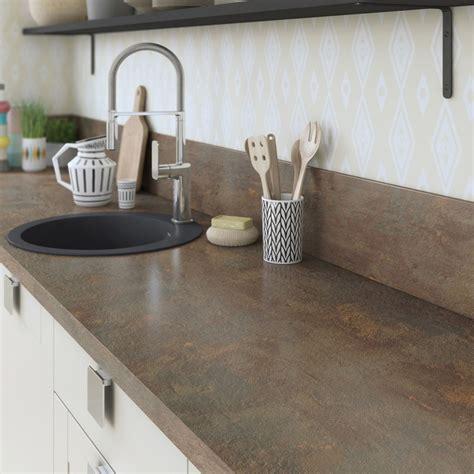 eclairage cuisine professionnelle plan de travail stratifié effet cuivre mat l 315 x p 65 cm