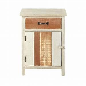 Table De Chevet Bois Brut : table de chevet avec tiroir en bois beige l 45 cm noirmoutier maisons du monde ~ Melissatoandfro.com Idées de Décoration