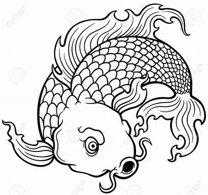Koi Fish Coloring Japanese Pages Vector Drawing