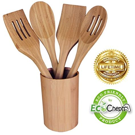 best bamboo utensil set 4 piece kitchen tools by ecocheph