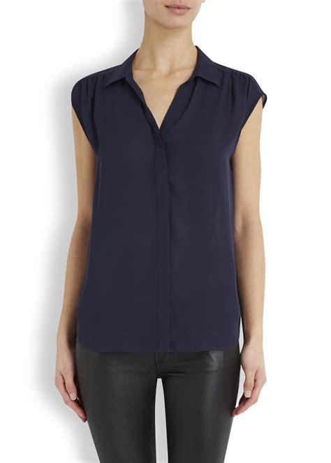 joie navy silk blouse  blue lyst
