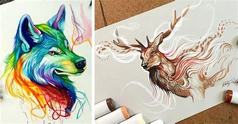 wild animal spirit hand drawn illustrations  katy