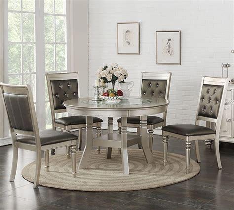 Poundex F2428 Silver Round Table Set   Round Dining Set