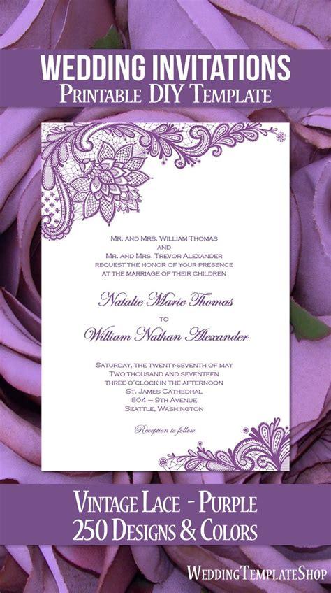 vintage lace wedding invitation purple   vintage
