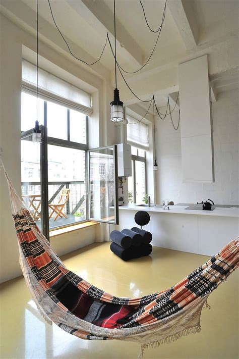 Hammock Apartment by Factory Loft With An Integrated Hammock And A Mezzanine