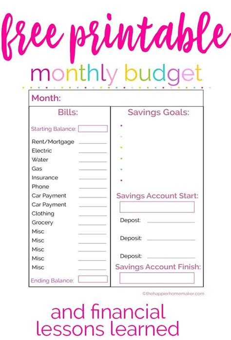 free printable monthly budget worksheet and learning