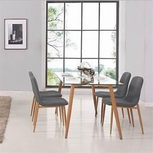 Table a manger verre et bois achat vente table a for Meuble salle À manger avec chaise bois blanc pas cher