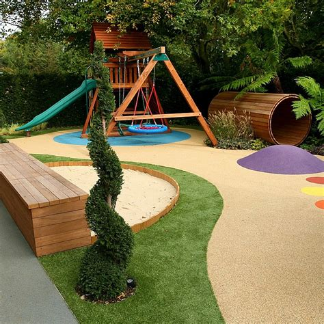 varied and attractive childrens play area garden design