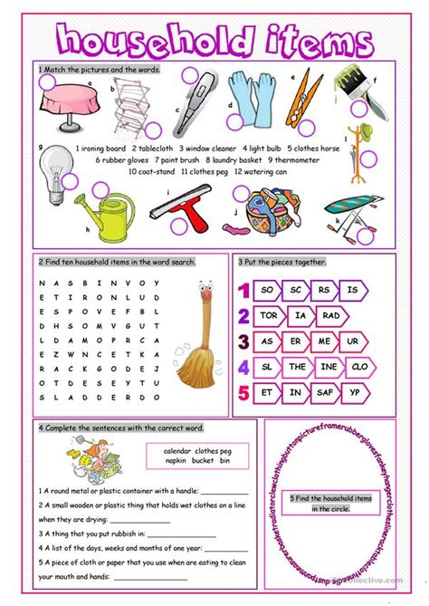 household items vocabulary exercises worksheet  esl