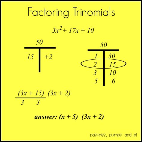 Math Tip Of The Day Factoring Trinomials  Pastries, Pumps And Pi